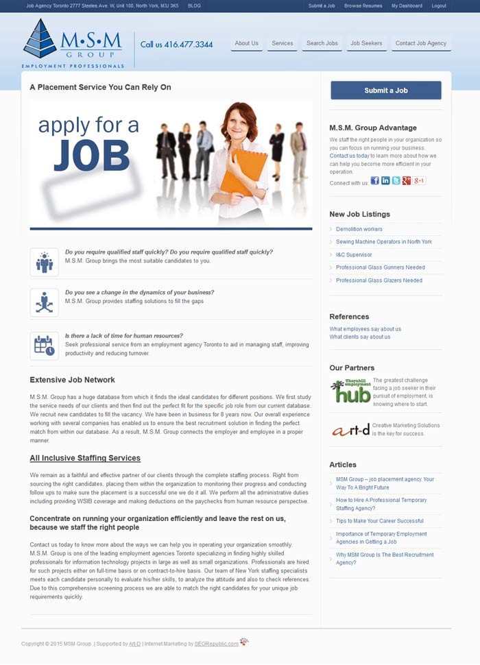 Internet Marketing Toronto Jobssite Agency MSM Group | Placement Agencies in Toronto